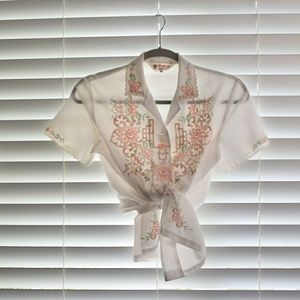 Light Vintage Floral Hand-Embroidered Shirt Top
